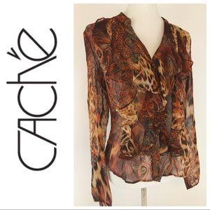 Cache Ruffle Silk Animal Print Semi Sheer Blouse
